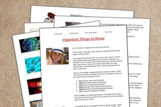 school information packet template to create a custom presentation about your child's needs and how to handle them in a school setting. Geared toward children with reactive attachment disorder, complex ptsd, and behavior problems